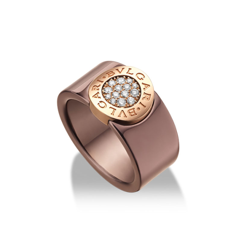 Band ring in bronze ceramic, rose gold and diamonds
