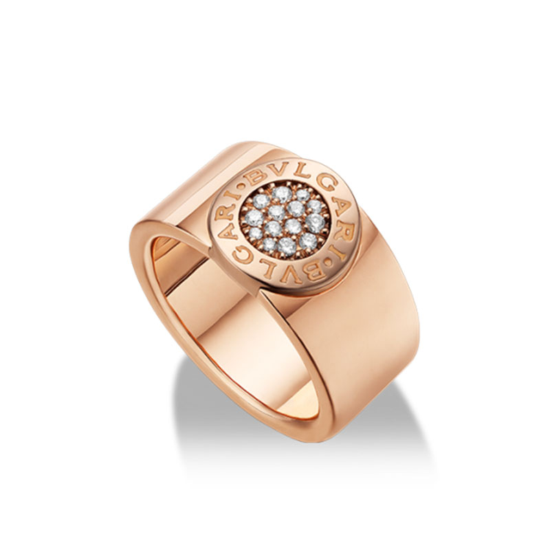 Band ring in rose gold with diamonds