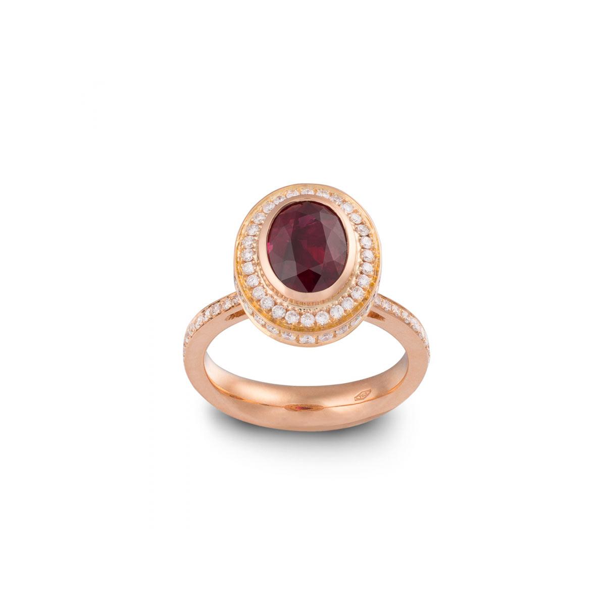 Anello Rubino, Oro Rosa e Diamanti